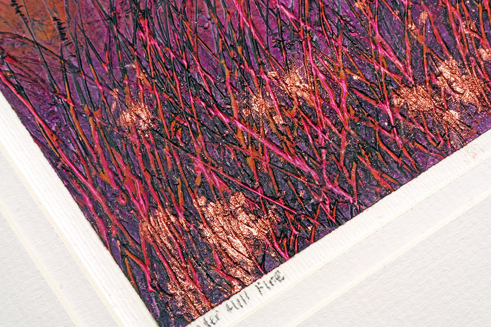 Detail from Winter Hill Fire by Liz Griffiths showing metallic pearl ex pigment in cold wax