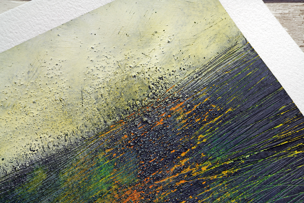 Detail from cold wax oil painting by Liz Griffiths showing textural detail