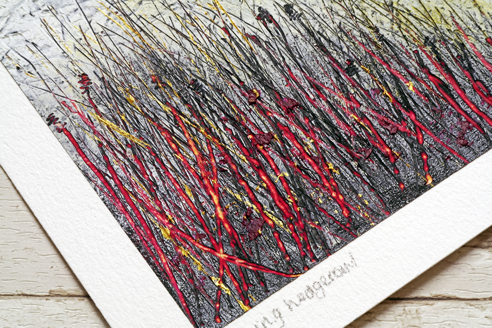 Detail of Morning Hedgerow by Liz Griffiths showing the scraped layers and shimmering details