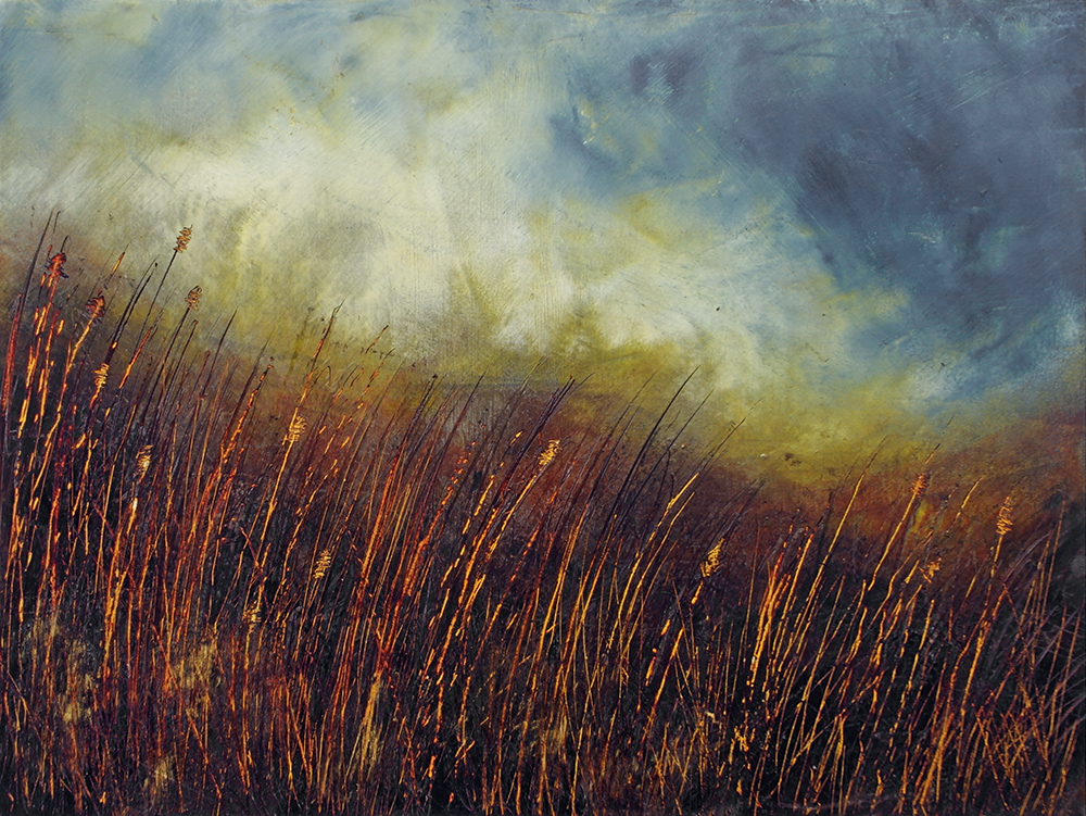 Finished cold wax painting with oil paint by Liz Griffiths