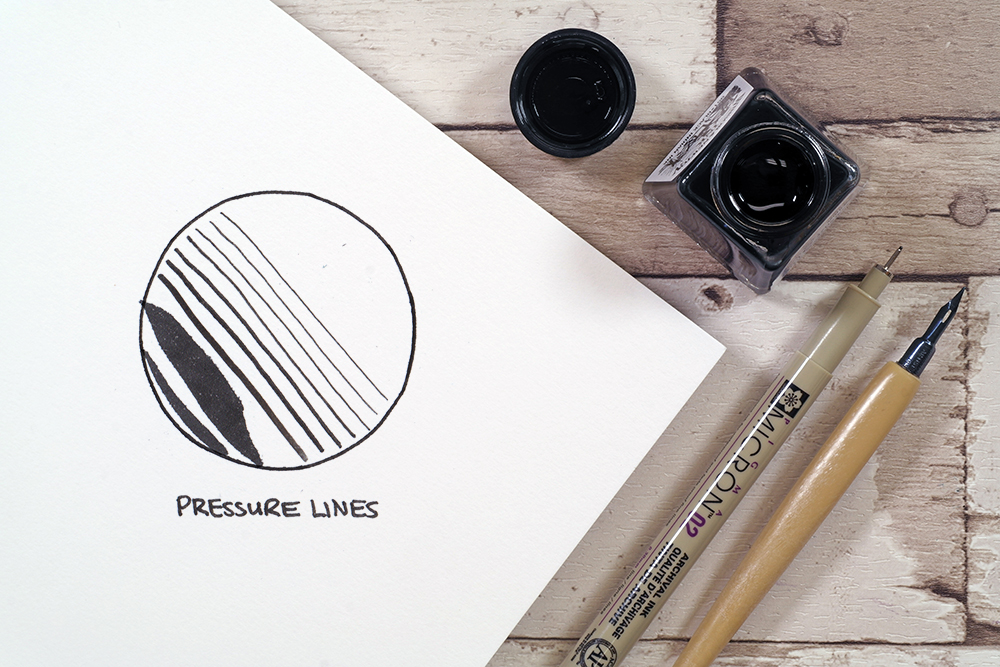 Pressure lines and thickness technique with Sakura micron fine liner pen