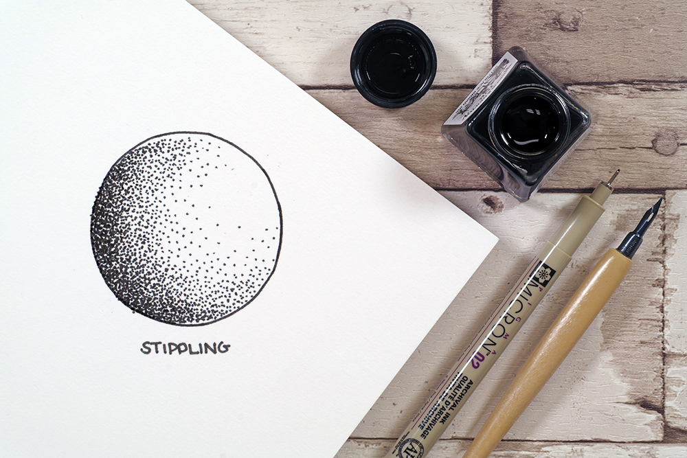 Stippling technique with Sakura micron fine liner pen