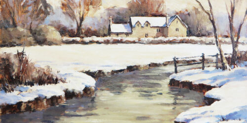 'Cotswold Winter River' – Alla Prima painting Tutorial in Water Soluble Oils