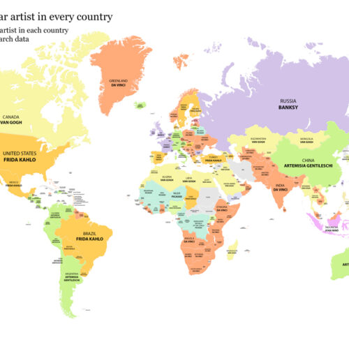 map of worlds most famous artist
