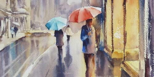'Winter Reflections' – A Rainy Street Scene Watercolour Tutorial