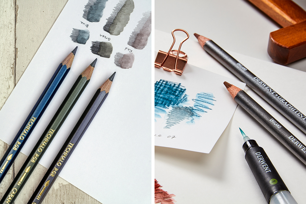 Caran d'Ache Technalo RGB Water-Soluble Tinted Graphite Pencils (left) and Derwent Graphitint Tinted Graphite Pencils (right)