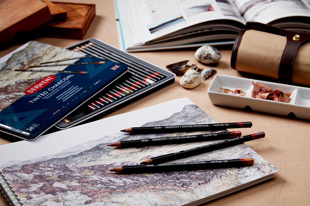 Derwent Tinted Charcoal Pencils in use