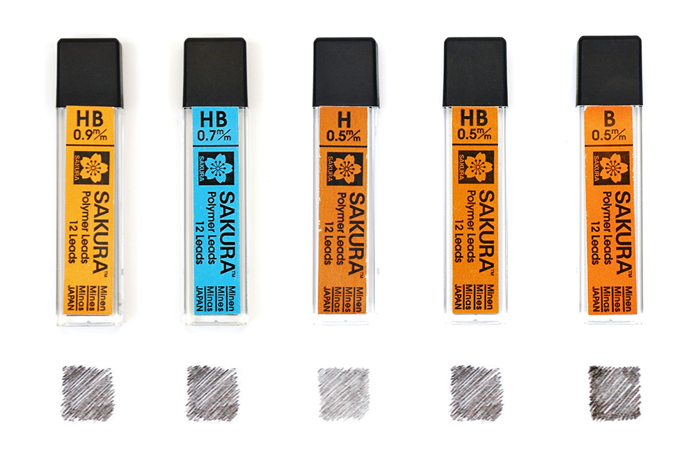 Example of refillable leads for mechanical pencils from Sakura