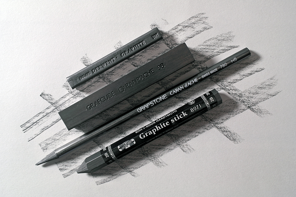 Selection of woodless graphite blocks and pencils from Derwent, Caran d'Ache and Koh-I-Noor