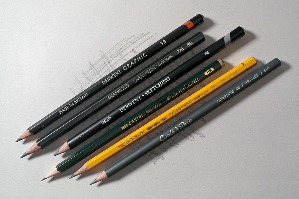 A selection of graphite pencils from Derwent, Caran d'Ache, Faber-Castell and Conte