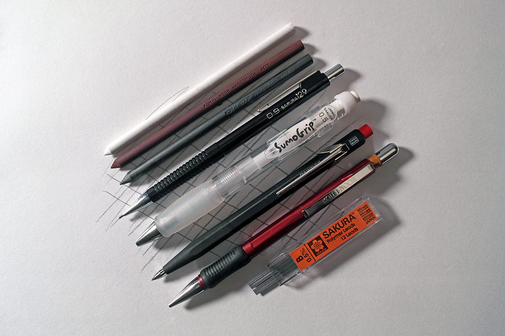 A selection of mechanical pencils, propelling pencils, clutch pencils and replacement leads.
