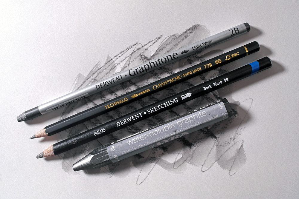 A selection of water soluble graphite pencils and blocks from Derwent, Caran d'Ache and Lyra