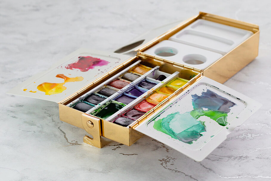 Open Frazer Price Watercolour Palette Box filled with watercolour paint pans