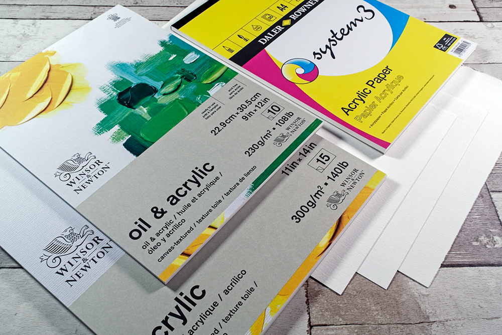 Assorted Canvas Paper Pads and Loose Sheets from Winsor and Newton, Daler Rowney, Fabriano and Arches