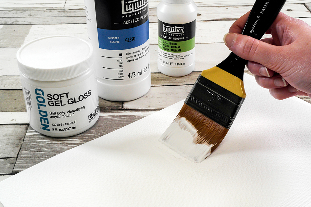 Priming a sheet of paper with Gesso and Soft Gel Gloss