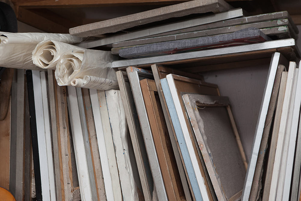 Stretched Canvases and Canvas Rolls in storage