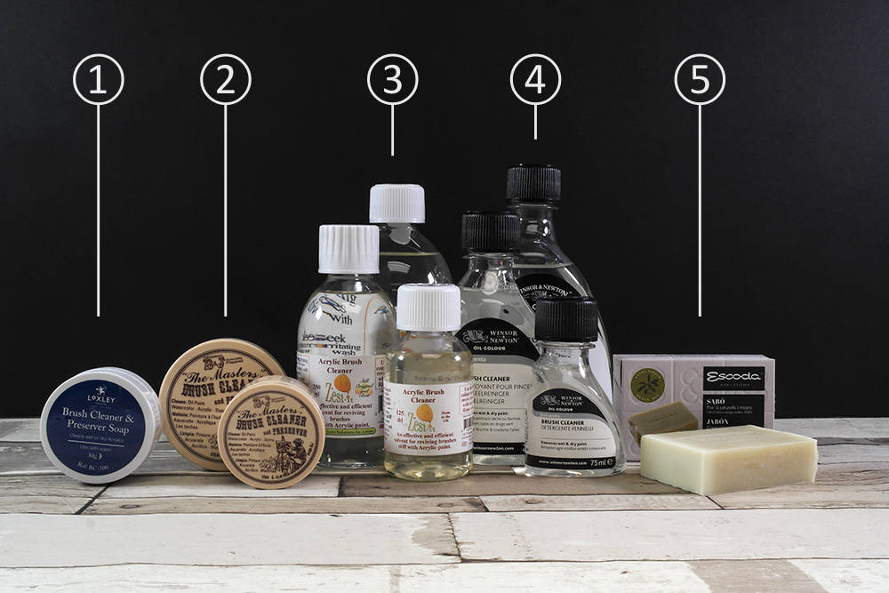 A selection of brush cleaners including solid soaps and liquids.
