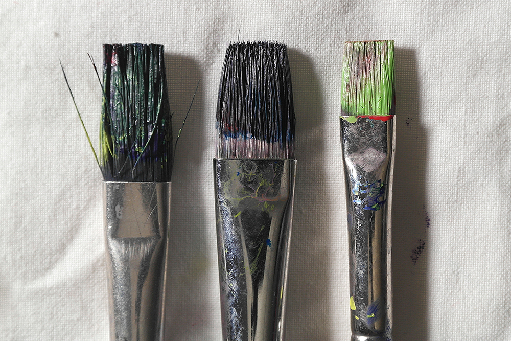 Before  Cleaning - Three paint brushes clogged with acrylic paint