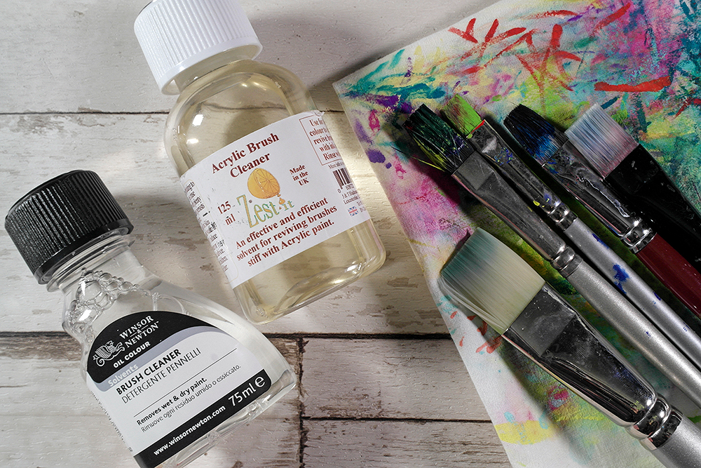 Winsor & Newton and Zest It Brush Cleaners and assorted acrylic brushes