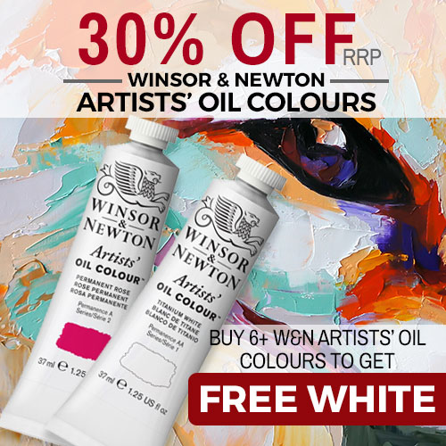 30% Off RRP on W&N Artists Oils and Free 37ml White when buying any 6+ tubes Dec 19