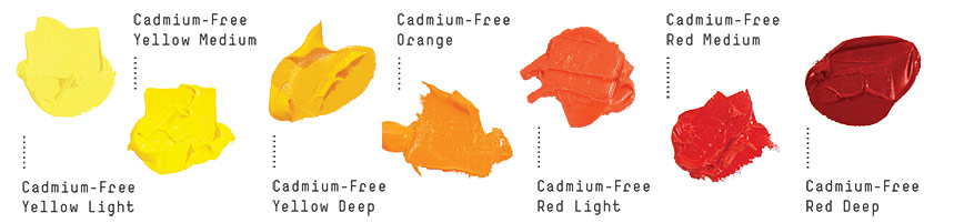 Liquitex Cadmium Free Acrylic Paint Colour Swatches