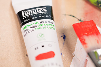 Liquitex Cadmium Free Red Light Acrylic and Brush