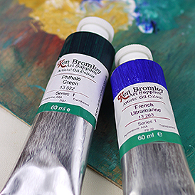 Our Oil Paint Range - Ken Bromley Artists Oils Phthalo Green and French Ultramarine Tubes