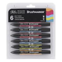 Winsor & Newton Brush Marker - Set of 6 Mid Tones