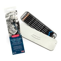 Derwent Water Soluble Sketching Pencils Tin of 6