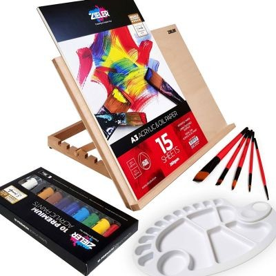 Zieler A3 Easel and Acrylic Paint Set