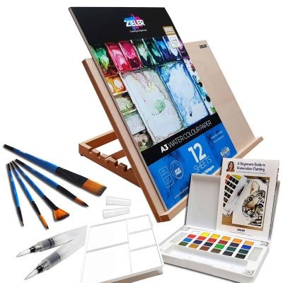 Zieler A3 Easel and Watercolour Paint Set
