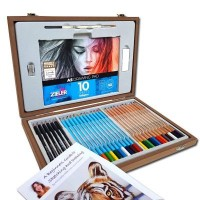 Zieler Artist Sketching and Coloured Pencil Wooden Box Set