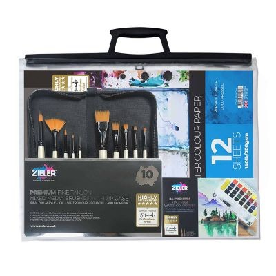 Zieler Complete Watercolour Paint Set Bundle with A3 Bag