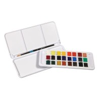 Daler Rowney Aquafine Watercolour Paint 24 Half Pan Set