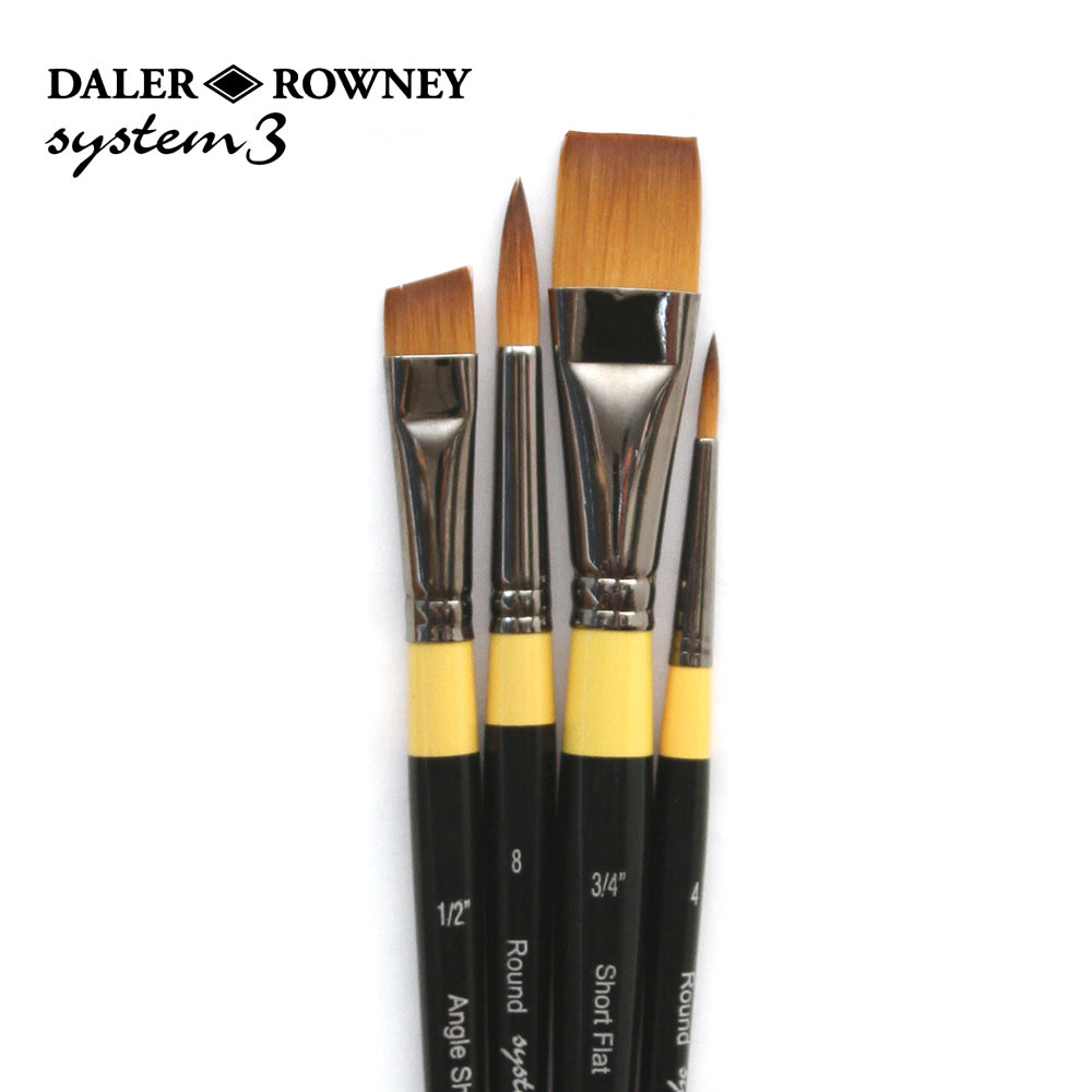 Daler Rowney set 500 System 3 Acrylic Wallet  brushes hand made