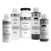Additional Golden Fluid Acrylics in White and Black