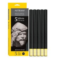 Nitram Batons Epais Round Charcoal Sticks 5 x 12mm