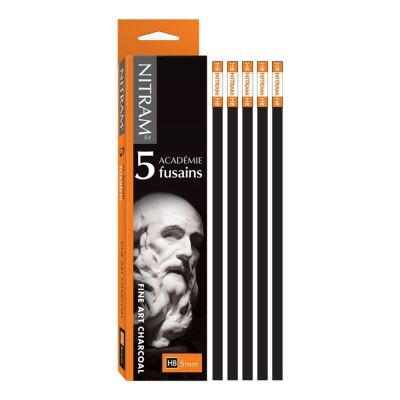 Nitram Academie Fusains Square Charcoal Sticks 5 x HB 5mm
