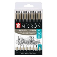 Sakura Pigma Micron Pen Set of 6 plus FREE Brush and PN Pen