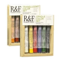 R&F Pigment Stick Sets of 6 x 38ml with Gessobord Panel