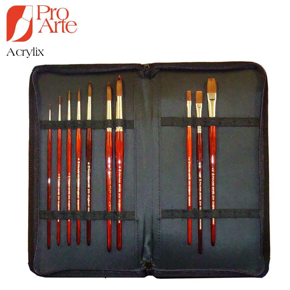 pro arte brush case set acrylix ken bromley art supplies. Black Bedroom Furniture Sets. Home Design Ideas