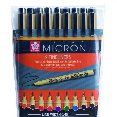 Sakura Pigma Micron Coloured Pen Set of 9
