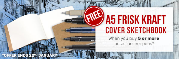 FREE A5 Frisk Kraft Cover Sketchbook when you buy 5 more more loose fineliner pens